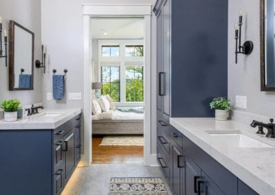 Bathroom with blue cabinets