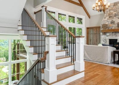 Three story open staircase