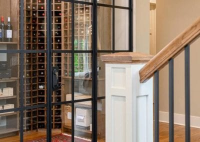 View of wine cellar from staircase