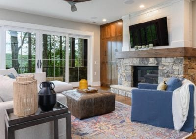 living room with french doors to deck.