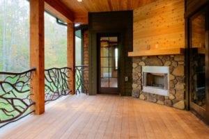 Skytop Farms Mountain Lodge Exterior Fireplace