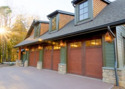 Skytop Farms Mountain Lodge Exterior Garage Doors