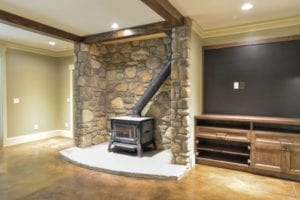 Skytop Farms Mountain Lodge Interior Wood Stove