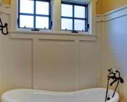 Craftsman bathroom, bathtub and windows