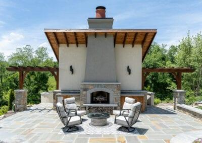 Living Stone Design+Build Firepit and Pergola